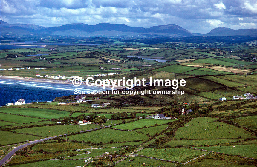 Aerial photograph, Rossnowlagh, Ballyshannon, Co Donegal, Rep of Ireland. In the distance is Barnesmore Gap. 19790160c..Copyright Image from Victor Patterson, 54 Dorchester Park, Belfast, UK, BT9 6RJ..Tel: +44 28 9066 1296.Mob: +44 7802 353836.Voicemail +44 20 8816 7153.Skype: victorpattersonbelfast.Email: victorpatterson@me.com.Email: victorpatterson@ireland.com (back-up)..IMPORTANT: If you wish to use this image or any other of my images please go to www.victorpatterson.com and click on the Terms & Conditions. Then contact me by email or phone with the reference number(s) of the image(s) concerned.