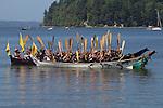 Canoe Journey, Paddle to Nisqually, 2016, Swinomish tribal canoes arriving in Olympia, Washington, 7-30-2016, Salish Sea, Puget Sound, Washington State, USA,