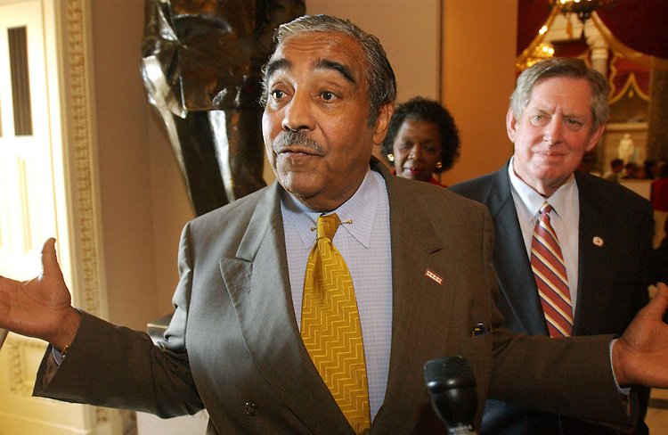 10/30/03.MEDICARE CONFERENCE--House ranking Democrat Charles B. Rangel, D-N.Y., Stephanie Tubbs Jones, D-Ohio, Marion Berry, D-Ark., and other Democrats talk to  reporters after leaving the hall where Chairman Bill Thomas, R-Calif., hosts the Medicare conference in his hideaway. Thomas would not allow Rangel, who is a member of the conference, and others to attend, even though at least two Democratic senators are regular participants in negotiations..CONGRESSIONAL QUARTERLY PHOTO BY SCOTT J. FERRELL