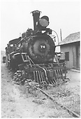 RGS 2-8-0 #74 on deadline at Ridgway.<br /> RGS  Ridgway, CO