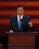 St. Paul, MN - September 3, 2008 -- Former Governor Mitt Romney of Massachusetts speaks on day 3 of the 2008 Republican National Convention at the Xcel Energy Center in Saint Paul, Minnesota on Wednesday, September 3, 2008.Credit: Ron Sachs / CNP.(RESTRICTION: NO New York or New Jersey Newspapers or newspapers within a 75 mile radius of New York City)