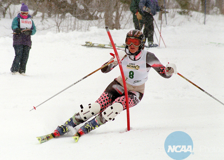 MAR 7 1997:  Marianne Winge of the University of Utah finished second in the 1997 NCAA Division 1 Women's slalom with a time of 1:41.66 on Mount Mansfield in Stowe, VT. David Herskowitz/NCAA Photos