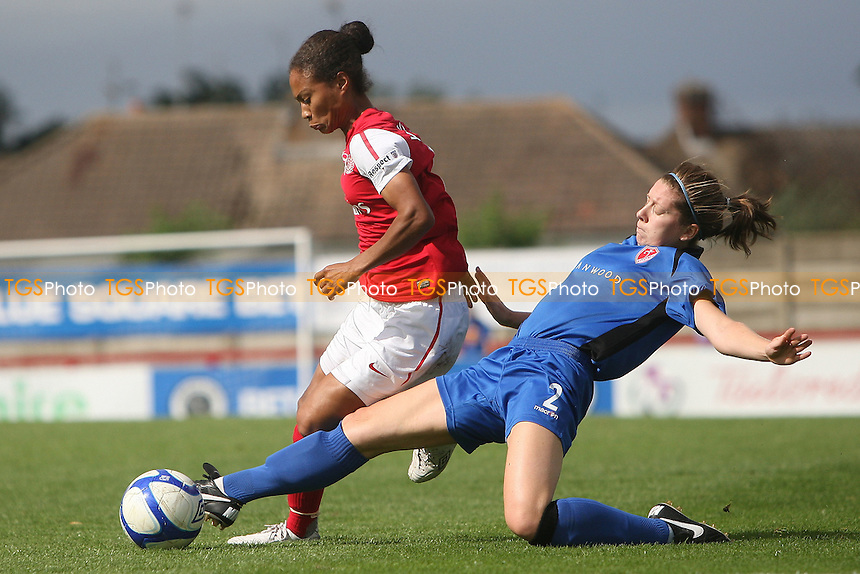 Rachel Yankey of Arsenal is challenged by Melissa Sutcliffe of Lincoln - Arsenal Ladies vs Lincoln Ladies - FA Womens Super League Continental Tyres Cup Semi-Final at Boreham Wood FC - 11/09/11 - MANDATORY CREDIT: Gavin Ellis/TGSPHOTO - Self billing applies where appropriate - 0845 094 6026 - contact@tgsphoto.co.uk - NO UNPAID USE.