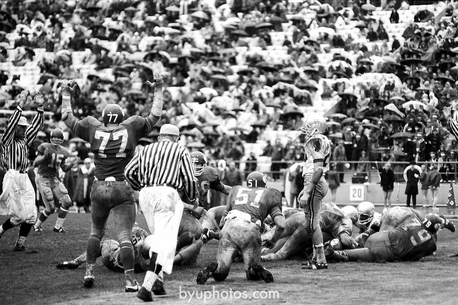 FTB 13 A 30 Utah<br /> <br /> Football BYU-Utah, University bike race winners. 15 Marc Lyons, 51 Monte Squires.<br /> <br /> October 28, 1967<br /> <br /> Box Number: 6373<br /> <br /> Photo by: Hal Williams/BYU<br /> <br /> Copyright BYU PHOTO 2008<br /> All Rights Reserved<br /> 801-422-7322<br /> photo@byu.edu