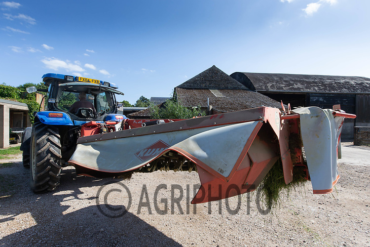 23.6.2020 Mower going back into a farmyard <br /> ©Tim Scrivener Photographer 07850 303986<br />      ....Covering Agriculture In The UK.