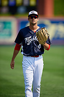 Reading Fightin Phils center fielder Zach Coppola (4) warms up before the first game of a doubleheader against the Portland Sea Dogs on May 15, 2018 at FirstEnergy Stadium in Reading, Pennsylvania.  Portland defeated Reading 8-4.  (Mike Janes/Four Seam Images)