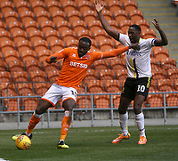 Blackpool's Joe Dodoo shields the ball from Burton Albion's Lucas Akins<br /> <br /> Photographer Stephen White/CameraSport<br /> <br /> The EFL Sky Bet League One - Blackpool v Burton Albion - Saturday 24th November 2018 - Bloomfield Road - Blackpool<br /> <br /> World Copyright © 2018 CameraSport. All rights reserved. 43 Linden Ave. Countesthorpe. Leicester. England. LE8 5PG - Tel: +44 (0) 116 277 4147 - admin@camerasport.com - www.camerasport.com