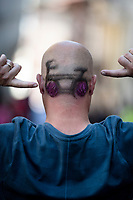 Italian cycling fan with appropriate haircut<br /> <br /> Stage 12: Cuneo to Pinerolo (158km)<br /> 102nd Giro d'Italia 2019<br /> <br /> ©kramon