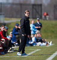 Washington Spirit head coach Mike Jorden watches his team during the game at the Maryland SportsPlex in Boyds, MD.  The Washington Spirit defeated the North Carolina Tar Heels in a preseason exhibition, 2-0.