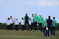 Ireland team go to congratulate England team during Day 3 / singles of the Boys' Home Internationals played at Royal Dornoch Golf Club, Dornoch, Sutherland, Scotland. 09/08/2018<br /> Picture: Golffile | Phil Inglis<br /> <br /> All photo usage must carry mandatory copyright credit (&copy; Golffile | Phil Inglis)