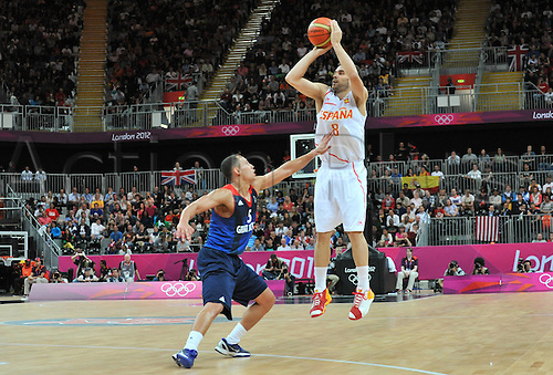 02.08.2012. London, England.  JosA Calderon Espagne Basketball  Spain versus Great Britain.