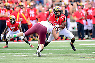 College Park, MD - SEPT 22, 2018: Maryland Terrapins defensive back Antoine Brooks Jr. (25) fights off a block during game between Maryland and Minnesota at Capital One Field at Maryland Stadium in College Park, MD. The Terrapins defeated the Golden Bears 42-13 to move to 3-1 on the season. (Photo by Phil Peters/Media Images International)