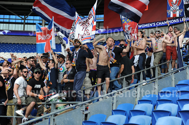 Supporters making lots of noise and enjoying the atmosphere during the UEFA Champions league final Women's football between Lyon and Paris Saint-Germain at Cardiff City Stadium on 1st June 2017<br /> <br /> <br /> Jeff Thomas Photography -  www.jaypics.photoshelter.com - <br /> e-mail swansea1001@hotmail.co.uk -<br /> Mob: 07837 386244 -