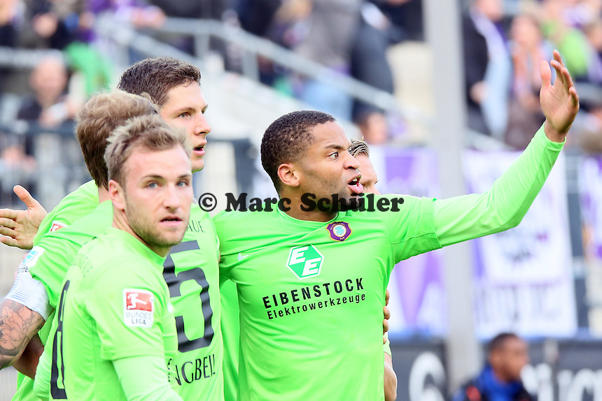 Torjubel Aue beim 1:1 - FSV Frankfurt vs. FC Erzgebirge Aue, Frankfurter Volksbank Stadion