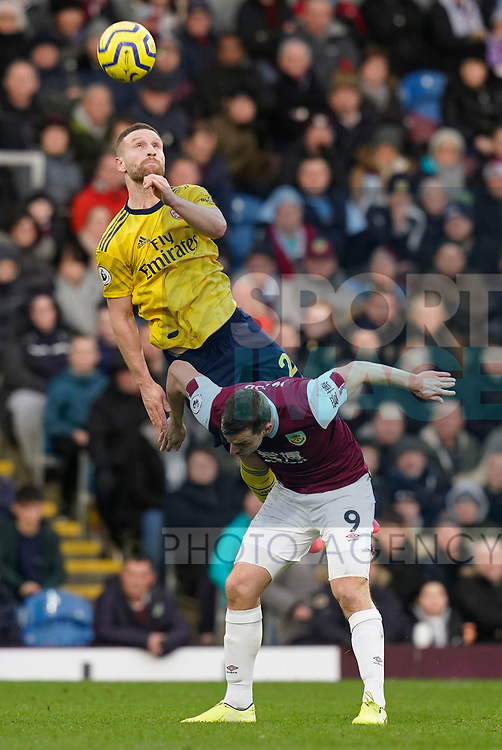 Shkodran Mustafi of Arsenal rises above Chris Wood of Burnley during the Premier League match at Turf Moor, Burnley. Picture date: 2nd February 2020. Picture credit should read: Andrew Yates/Sportimage