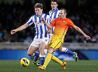Real Sociedad's Asier Illarramendi (l) and FC Barcelona's Andres Iniesta during La Liga match.January 19,2013. (ALTERPHOTOS/Acero) /NortePhoto