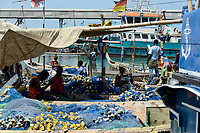 TOGO, Lome, fishing harbor, boats of coast fishermen / Fischerei Hafen, Küstenfischerei
