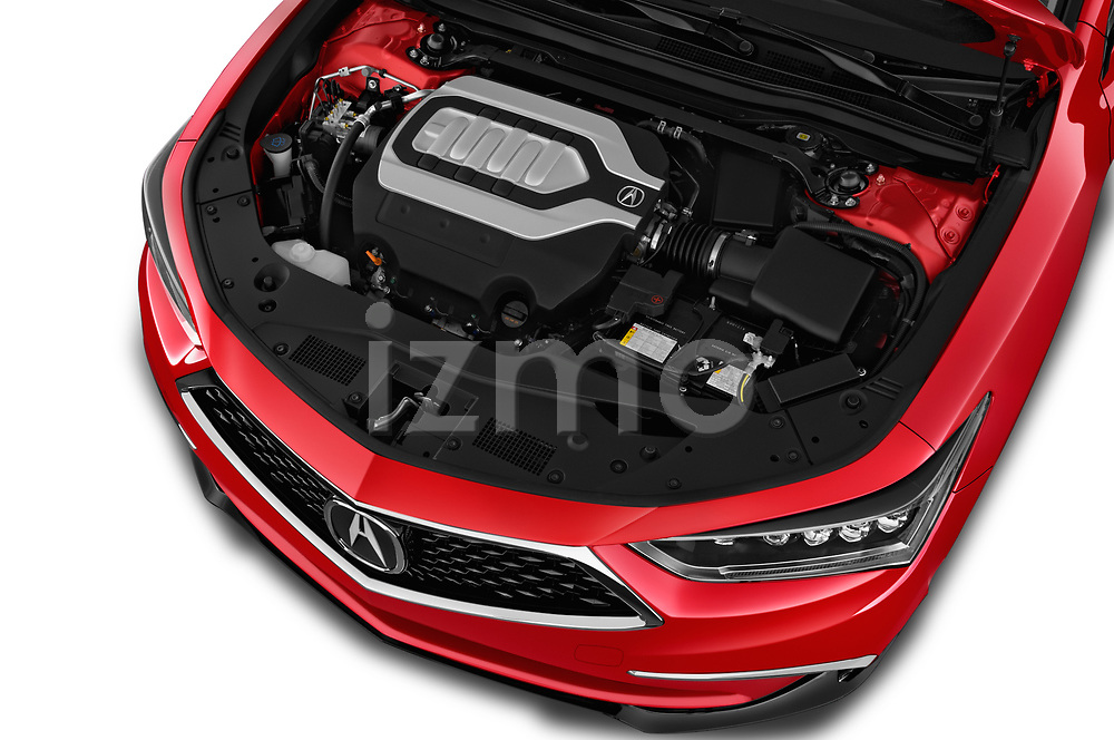 Car Stock 2018 Acura RLX - 4 Door Sedan Engine  high angle detail view