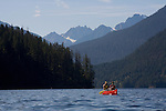 Ross Lake, People in canoes, Ross Lake National Recreation Area, North Cascades National Park, wilderness, Cascade Mountains, Washington State, Pacific Northwest, USA