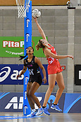 7th September 2017, Te Rauparaha Arena, Wellington, New Zealand; Taini Jamison Netball Trophy; New Zealand versus England;  Englands Jo Harten takes a pass under the net with Silver Ferns Temalisi Fakahokotau covering