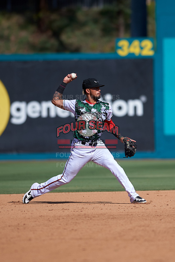 Lake Elsinore Storm shortstop Gabriel Arias (13) during a California League game against the Inland Empire 66ers on April 14, 2019 at The Diamond in Lake Elsinore, California. Lake Elsinore defeated Inland Empire 5-3. (Zachary Lucy/Four Seam Images)