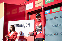 Red jersey for stage winner and new overall leader Primoz Roglic (SVK/Jumbo-Visma)<br /> <br /> stage 10 (ITT): Jurançon to Pau (36.2km > in FRANCE)<br /> La Vuelta 2019<br /> <br /> ©kramon