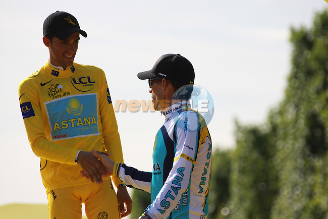 Alberto Contador on the podium with Lance Armstrong on the Champs Elysees after winning the 2009 Tour de France, 26th July 2009 (Photo by Manus OReilly/NEWSFILE)