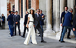 George Clooney and Amal Alamuddin arrive at Ca'Farsetti, municipality building, on September 29, 2014, where George Clooney and his wife Amal Alamuddin will registered their wedding.  PHOTO / PIERRE TEYSSOT