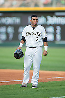 Micah Johnson (3) of the Charlotte Knights during the game against the Norfolk Tides at BB&T BallPark on July 17, 2015 in Charlotte, North Carolina.  The Knights defeated the Tides 5-4.  (Brian Westerholt/Four Seam Images)