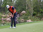 Martin Kaymer putts on the 7th green during the Barracuda Championship PGA golf tournament at Montrêux Golf and Country Club in Reno, Nevada on Friday, July 26, 2019.