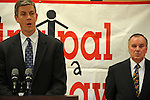 "Arne Duncan, the Chief Executive Officer of the Chicago Public Schools, CPS, speaks beside Chicago Mayor Richard M. Daley during a press conference for Mayor Daley's ""Principal for a Day"" program of corporate sponsorship and volunteerism in the Chicago Public Schools at Talcott Elementary School, 1840 W. Ohio St., in Chicago, Illinois on October 17, 2008."