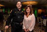 WOLCOTT, CT. 05 April 2018-040518BS09 - Wolcott Police Sergeant Chris Wihbey and Sue Guertin-Guerrera of New Foundations enjoy themselves at the Wolcott Chamber of Commerce awards banquet at Mahan's Lakeview in Wolcott on Thursday evening. Bill Shettle Republican-American
