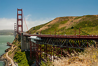 The Golden Gate Bridge heads north from the south entrance, San Francisco, California