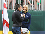Scotland's Jenni Falconer speaks to Presenter Chris Hollins<br /> <br /> Celebrity Cup 2019 - Golf - Celtic Manor resort - Saturday 13th July 2019 - Newport<br /> <br /> © www.fotowales.com- PLEASE CREDIT IAN COOK