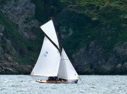 Gladys, owned by HYC Commodore Ian Byrne and Eddie Ferris, finds a bright spot on the north side of Lambay