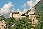 Tirol Castle in Dorf Tirol near Merano, Italy; Tirol Castle dates back to 1100, it acted as the seat of Tyrol's sovereigns until 1420 when the Habsburgs moved the administrative seat to Innsbruck; The castle was restored in 19th century