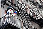 Balcony snowman in the Beacon Hill neighborhood of Boston, MA, USA