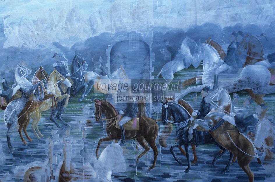 Europe/France/Pays de la Loire/Maine-et-Loire/Saumur : Ecole Nationale d'Equitation - Fresque de l'entrée du manège