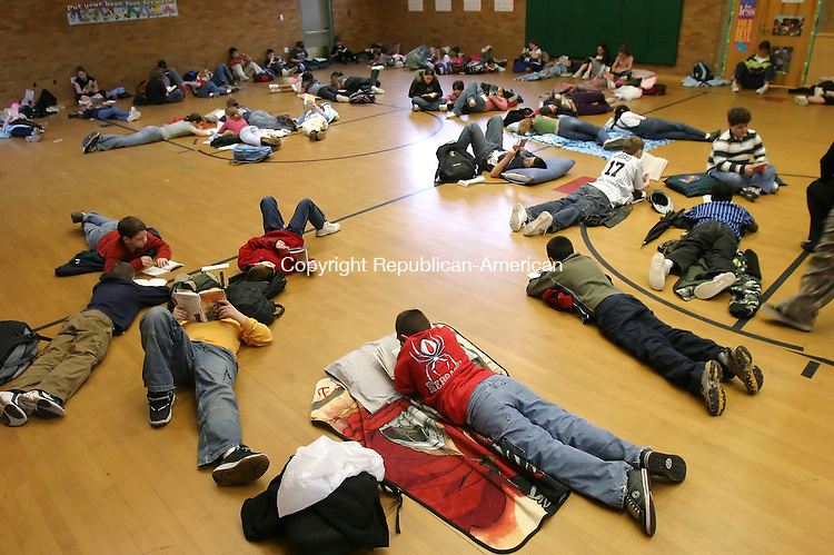 NAUGATUCK, CT, 03/15/07- 031507BZ04- Students participate in a &quot;read in&quot; at Hop Brook School in Naugatuck Thursday afternoon.  The afterschool event is a fundraiser for books in the classrooms.  Students attract sponsors and recieve money for total pages read. <br /> Jamison C. Bazinet Republican-American