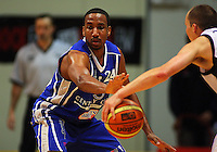 Saints forward Ernest Scott marks Phill Jones during the NBL Semifinal basketball match between the Wellington Saints and Nelson Giants at TSB Bank Arena, Wellington, New Zealand on Thursday, 12 June 2008. Photo: Dave Lintott / lintottphoto.co.nz