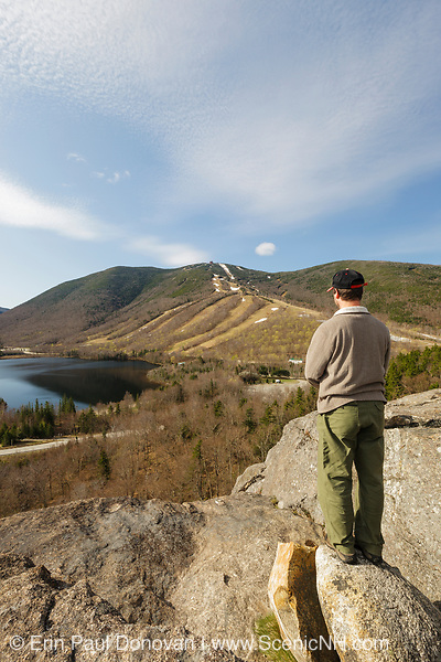 Cannon Mountain from Artists Bluff in Franconia Notch of the New Hampshire White Mountains during the spring months.