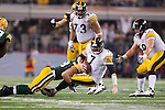 Green Bay Packers linebacker Frank Zombo (58) sacks Pittsburgh Steelers quarterback Ben Roethlisberger (7) during Super Bowl XLV on Sunday, February 6, 2011, in Arlingto, Texaas. The Packers won 31-25. (AP Photo/David Stluka)
