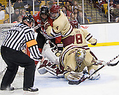 Braden Pimm (Northeastern - 14), Tommy Cross (BC - 4), Parker Milner (BC - 35) - The Boston College Eagles defeated the Northeastern University Huskies 7-1 in the opening round of the 2012 Beanpot on Monday, February 6, 2012, at TD Garden in Boston, Massachusetts.
