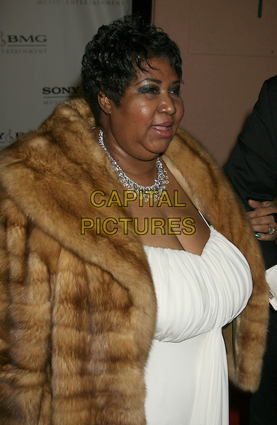 ARETHA FRANKLIN.Sony BMG 2008 Grammy Awards After-Party held at the Beverly Hills Hotel Photo, Beverly Hills, California, USA..February 10th, 2008.half length brown fur jacket coat white dress necklace .CAP/ADM/RE.©Russ Elliot/AdMedia/Capital Pictures.
