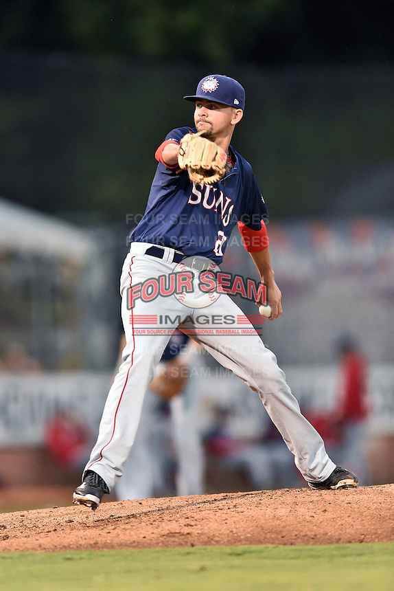 Hagerstown Suns starting pitcher Taylor Guilbeau (20) delivers a pitch during a game against the  Asheville Tourists at McCormick Field on September 2, 2016 in Asheville, North Carolina. The Suns defeated the Tourists 5-1. (Tony Farlow/Four Seam Images)