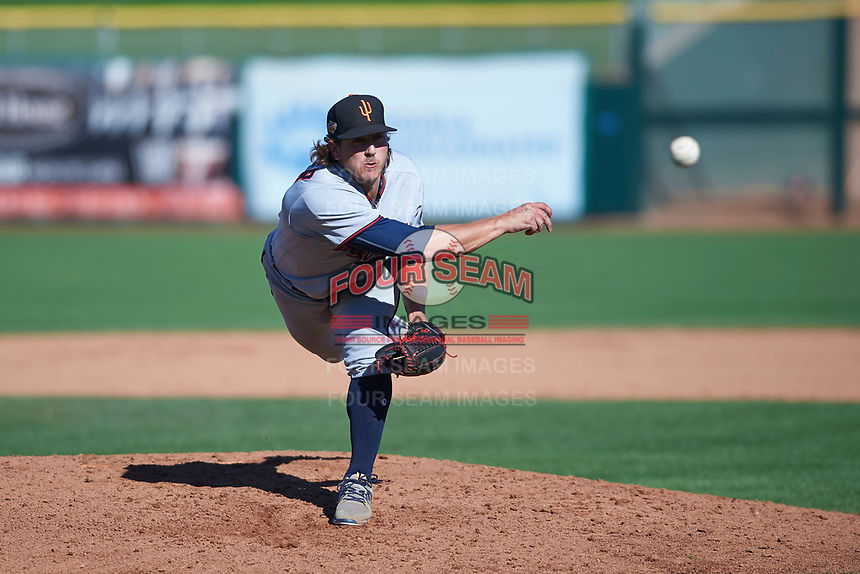 Surprise Saguaros relief pitcher Tom Hackimer (50), of the Minnesota Twins organization, follows through on his delivery during an Arizona Fall League game against the Scottsdale Scorpions on October 27, 2017 at Scottsdale Stadium in Scottsdale, Arizona. The Scorpions defeated the Saguaros 6-5. (Zachary Lucy/Four Seam Images)