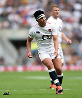 Marcus Smith of the England XV kicks for the posts. Quilter Cup International match between England XV and the Barbarians on June 2, 2019 at Twickenham Stadium in London, England. Photo by: Patrick Khachfe / Onside Images