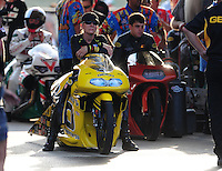 Jun. 29, 2012; Joliet, IL, USA: NHRA pro stock motorcycle rider Karen Stoffer during qualifying for the Route 66 Nationals at Route 66 Raceway. Mandatory Credit: Mark J. Rebilas-