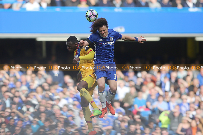 Christian Benteke of Crystal Palace and David Luiz of Chelsea go up for a header during Chelsea vs Crystal Palace, Premier League Football at Stamford Bridge on 1st April 2017