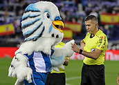 30th October 2017, Cornella-El Prat, Cornella de Llobregat, Barcelona, Spain; La Liga football, Espanyol versus Real Betis; Referee Iglesias Villanueva greets the Espanyol mascot